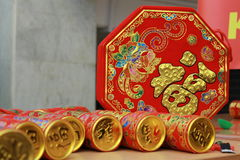 Macchine per fare i popcorn tradizionali cinesi del partito del nuovo anno Fotografia Stock Libera da Diritti