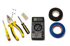 Macchine utensili per la riparazione e l'installazione degli elettricisti immagini stock