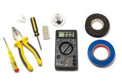 Macchine utensili per la riparazione e l'installazione degli elettricisti immagine stock libera da diritti