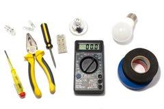Macchine utensili per la riparazione e l'installazione degli elettricisti fotografia stock libera da diritti