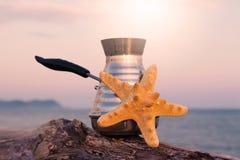 Macchinetta del caffè con caffè e le stelle marine di recente preparati fotografia stock libera da diritti