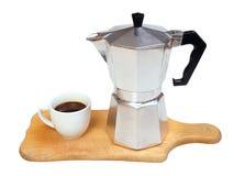 Macchinetta del caffè del metallo Fotografie Stock Libere da Diritti