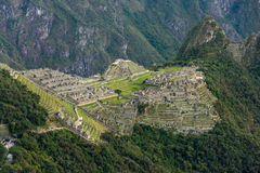 Macchu picchu sunrise with view to wayna picchu Royalty Free Stock Images