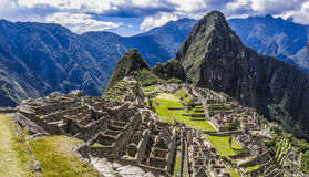 Macchu Pichu, Peru. Panoramic view of the city of Macchu Pichu in Peru Stock Photo