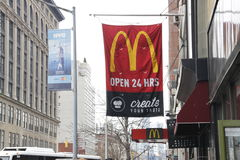MacDonald's restaurant sign banner in new york city Royalty Free Stock Image