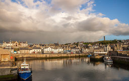 Macduff harbor town. Macduff colorful harbor town in the sunrise sunset scotland Royalty Free Stock Photo