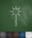 Mace icon. Hand drawn vector illustration Stock Image