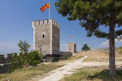 Macedônia - Scopje - torres e paredes da fortaleza antiga c da couve Fotos de Stock Royalty Free