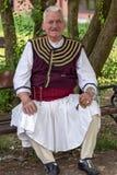 Macedoński stary człowiek etniczny od Banat, w tradycyjnym kostiumu, sh obrazy royalty free