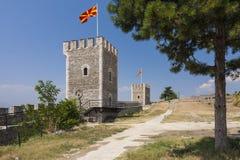 Macedonië - Scopje - Torens en muren van oude Boerenkoolvesting c Royalty-vrije Stock Foto's
