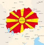 Macedonia. Abstract vector color map of Macedonia country coloured by national flag Royalty Free Stock Image