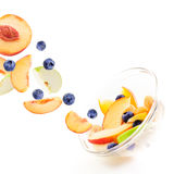Macedonia di frutta con il mirtillo Fotografia Stock