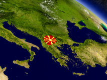 Macedonia with embedded flag on Earth Stock Images