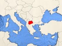 Macedonia en mapa Imagenes de archivo