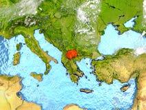 Macedonia en mapa con las nubes Imagenes de archivo