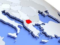 Macedonia en mapa del mundo Fotografía de archivo