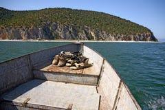 Macedonia, ex Yugoslav republic. South Europe. Boat on the lake Royalty Free Stock Photos