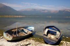 Macedonia, ex Yugoslav republic. South Europe. Two boats on the lake Royalty Free Stock Image
