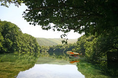 Macedonia, ex Yugoslav republic. South Europe. Boat on the swamp Stock Images