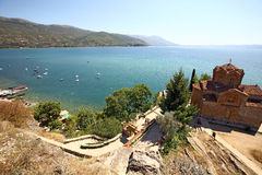 Macedonia, ex Yugoslav republic. South Europe. Old Orthodox church on the lake Royalty Free Stock Images
