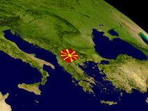 Macedonia with flag on Earth Royalty Free Stock Image