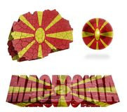 Macedonia Symbols. Macedonia flag and map in different styles in different textures Royalty Free Stock Image