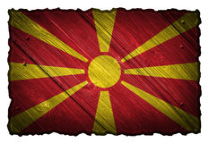 Macedonia flag. Painted on wooden tag Royalty Free Stock Photos
