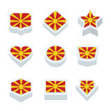 Macedonia flags icons and button set nine styles Royalty Free Stock Photos