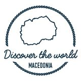 Macedonia, the Former Yugoslav Republic Of Map. Macedonia, the Former Yugoslav Republic Of Map Outline. Vintage Discover the World Rubber Stamp with Macedonia Royalty Free Stock Photos