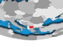 Macedonia on globe. Macedonia on 3D model of political globe. 3D illustration Royalty Free Stock Images