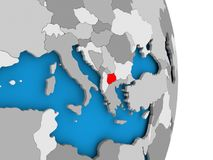 Macedonia on globe. Macedonia in red on model of political globe. 3D illustration Stock Images