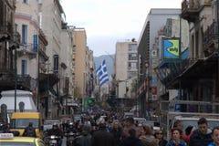 Macedonia Greece imienia spora demonstracja Zdjęcia Royalty Free