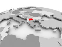 Macedonia on grey globe. Macedonia in red on grey model of political globe. 3D illustration Royalty Free Stock Images