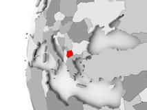 Macedonia on grey globe. Macedonia highlighted on grey 3D model of political globe. 3D illustration Stock Photography
