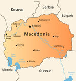 Macedonia map. Illustration of a detailed political map of Macedonia Royalty Free Stock Images