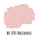 Macedonia Map with red hearts - symbol of love. abstract background Royalty Free Stock Images
