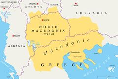 Macedonia region political map stock image