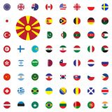 Macedonia round flag icon. Round World Flags Vector illustration Icons Set. Macedonia round flag icon. Round World Flags Vector illustration Icons Set Royalty Free Stock Photos