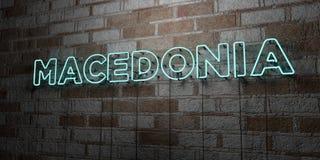 MACEDONIA - Señal de neón que brilla intensamente en la pared de la cantería - 3D rindió el ejemplo común libre de los derechos Foto de archivo