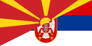 Macedonia serbia flag. Macedonia serbia neighbour countries half flag symbol Stock Image