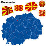 Macedonia set. Detailed country shape with region borders, flags and icons isolated on white background Royalty Free Stock Photos