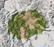 Macedonia, shaded relief map Royalty Free Stock Image