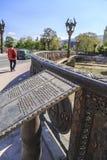 Freedom Bridge, bronze rails, lanterns Royalty Free Stock Photos