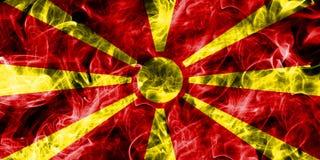 Macedonia smoke flag isolated on a black background.  Stock Images