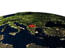 Macedonia from space at night Stock Photos