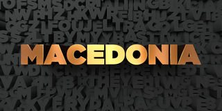 Macedonia - texto del oro en fondo negro - imagen común libre rendida 3D de los derechos Imagen de archivo libre de regalías