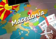 Macedonia travel concept map background with planes, tickets. Vi royalty free illustration