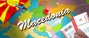 Macedonia travel concept map background with planes, tickets. Visit Macedonia travel and tourism destination concept. Macedonia royalty free illustration