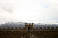 Macedonian Balkans and crenellation of fort. View on range of Balkans Mountains from King Samuel's fortress, Ohrid, Macedonia Stock Photos