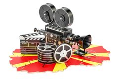 Macedonian cinematography, film industry concept. 3D rendering. Isolated on white background Stock Image